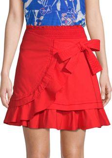 Tanya Taylor Dawson Wrap Poplin Mini Skirt