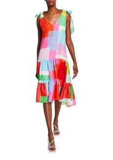 Tanya Taylor Donatella Colorblock Sleeveless Dress