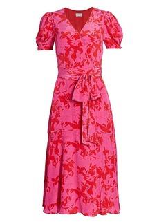 Tanya Taylor Dorothy Silk-Printed Puff-Sleeve Midi Dress