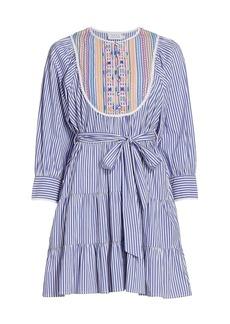 Tanya Taylor Elaia Embroidered Bib Belted Shirtdress