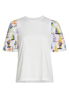 Tanya Taylor Elle Multicolor Sailboat-Print Sleeve T-Shirt