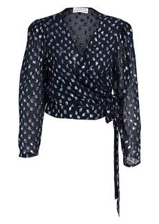 Tanya Taylor Erica Metallic Leopard Stretch Silk Chiffon Wrap Blouse