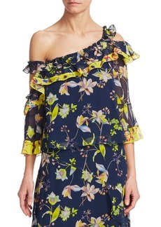 Tanya Taylor Garden Print Silk Ruffle Bell-Sleeve Top