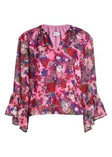 Tanya Taylor Harper Floral Bell-Sleeve Top