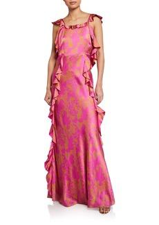 Tanya Taylor Haven Open-Back Ruffle Long Dress