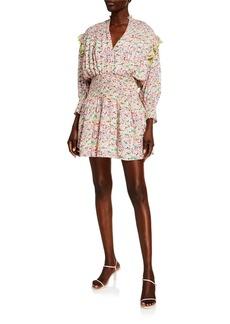 Tanya Taylor Imogen Floral Smocked Long-Sleeve Dress