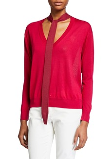 Tanya Taylor Jacque Two-Tone Tie-Neck Sweater