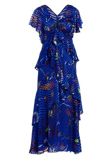 Tanya Taylor Janelle Printed Tiered Stretch-Silk Maxi Dress