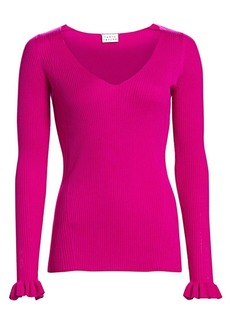 Tanya Taylor Leanne V-Neck Rib-Knit Merino Wool Sweater