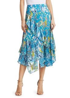 Tanya Taylor Liliana Ruffled Floral Midi Skirt
