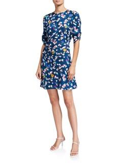 Tanya Taylor Liz Ruched Floral-Print Cocktail Dress