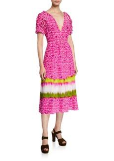 Tanya Taylor Luciana Printed V-Neck Short-Sleeve Dress