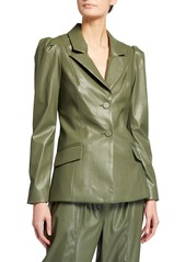 Tanya Taylor Mariel Faux-Leather Blazer Jacket