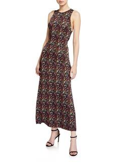 Tanya Taylor Octavia Printed Tie-Back Long Dress