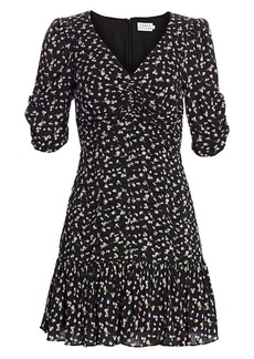 Tanya Taylor Pansy Puff-Sleeve Flounce Mini Dress