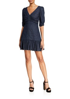 Tanya Taylor Pansy Ruched Denim Flounce Dress