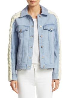 Tanya Taylor Percy Cable-Knit Denim Jacket