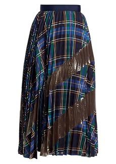 Tanya Taylor Reyna Metallic & Plaid Pleated Midi Skirt