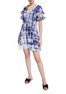 Tanya Taylor Rhett Tie-Dye Ruffle Trim Dress