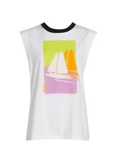 Tanya Taylor Skylar Graphic Sleeveless T-Shirt
