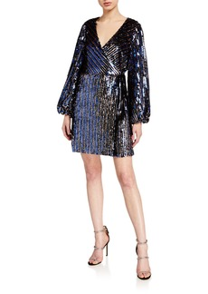 Tanya Taylor Tabitha Sequined Long-Sleeve Wrap Dress