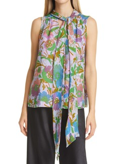 Tanya Taylor Adalira Tie Neck Sleeveless Silk Georgette Top