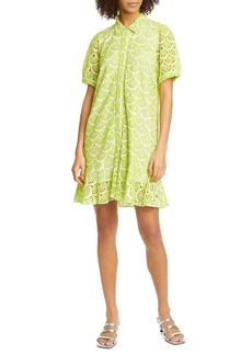 Tanya Taylor Aliciana Short Sleeve Cotton Eyelet Shirtdress (Regular & Plus Size)