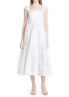 Tanya Taylor Alilah Eyelet Midi Dress