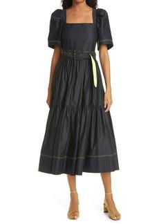 Tanya Taylor Delilah Belted Midi Dress