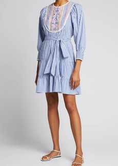 Tanya Taylor Elaia Pinstripe Tiered Dress