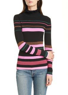 Tanya Taylor Hadley Metallic Stripe Ruffle Neck Sweater