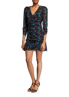 Tanya Taylor Kathleen Ruched 3/4-Sleeve Flounce Dress