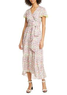 Tanya Taylor Liza Floral Short Sleeve Wrap Dress