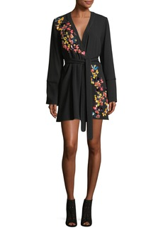 Tanya Taylor Luna Satin Back Crepe Wrap Dress with Paillettes