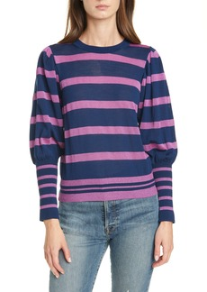 Tanya Taylor Metallic Stripe Balloon Sleeve Sweater