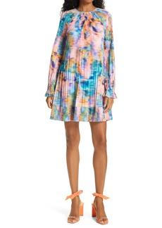 Tanya Taylor Mikayla Plissé Pleat Long Sleeve Babydoll Dress