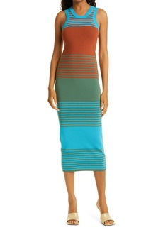Tanya Taylor Mix Stripe Cotton Blend Knit Tank Dress