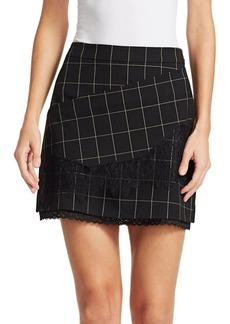 Tanya Taylor Tasia Windowpane Lace Skirt