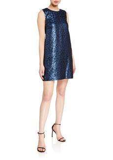 Tanya Taylor Tracy Metallic Leopard Shift Dress