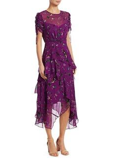 Tanya Taylor Vines Print Tiered Silk Handkerchief Dress