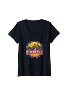 Womens Taos New Mexico USA Pueblo Desert Sunset Vacation Souvenir V-Neck T-Shirt