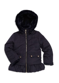 Tartine et Chocolat Little Girl's Quilted & Faux Fur Reversible Jacket