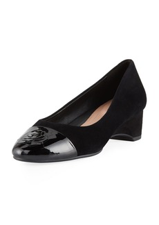 Taryn Rose Babe Patent-Capped Suede Ballet Pumps