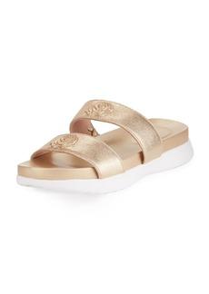 Taryn Rose Ina 2-Band Metallic Leather Slide Sandal