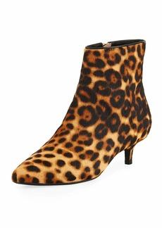 Taryn Rose Nora Leopard-Print Kitten-Heel Booties