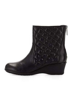 Taryn Rose Andy Quilted Leather Demi-Wedge Bootie