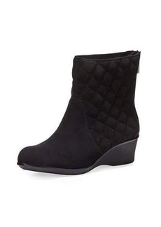 Taryn Rose Andy Quilted Suede Demi-Wedge Bootie