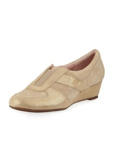 Taryn Rose Pooms Metallic Low Wedge Traveler Shoe