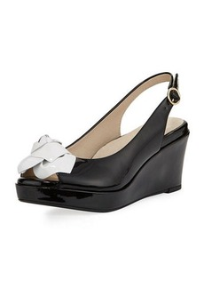 Taryn Rose Star Patent Flower Slingback Wedge Sandal