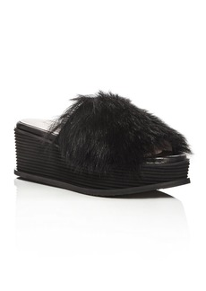 Taryn Rose Women's Pearla Shearling Wedge Slide Sandals